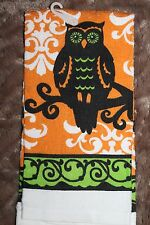 HALLOWEEN PRINTED KITCHEN TERRY DISH TOWEL OWL ORANGE BLACK GREEN SPOOKY