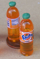 1:12 Scale 2 Bottles Of Orange Drink Dolls House Miniature Drink Accessory