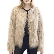 Chic Womens Faux Fur Short Jacket Winter Warm New Coat Candy Luxury Outwear New