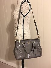 PRADA Vitello Shine Grey Leather Crossbody Shoulder Tote Bag