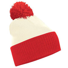 Two-Tone Beanie Hat Snowboarding Knitted Slouch Winter Bobble Hat