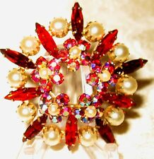 Sherman Jewels of Elegance - Signed Siam Red AB Stones and Faux Pearl Brooch