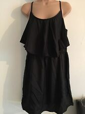 PRIMARK SUMMER DRESS BLACK SIZE 16 RUFFLE NEW