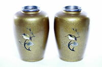 Antique Pair Japanese Bronze Gold  vases  Artist Signed