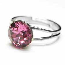 Neu RING 8mm SWAROVSKI STEIN in rose/rosa GRÖßENVERSTELLBAR Damenring FINGERRING