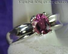 PINK QUARTZ STERLING SILVER 925 ESTATE SOLIATIRE RING size 7