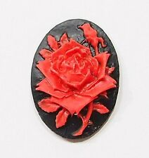 6 of 25x18 mm Red over Black Single Rose and Bud Cameos, Cabs 4 Pendant Settings