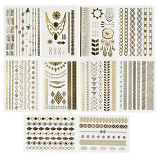 10 Sheets Temporary Disposable Metallic Tattoo Gold Silver Black Flash Tattoos
