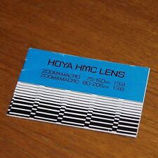 Instructions for HOYA HMC LENSES 75-150mm f3.8 & 80-205mm f3.8 ZOOM MACRO JAPAN