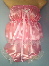 boobtube and pants french maid cosplay sissy adult baby pink satin fetish doll