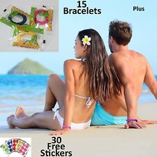 15 Mosquito Repellent Bracelet Wristband Deet Free Natural + 30 Insect Stickers