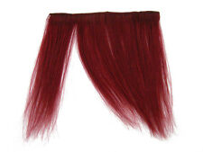 CLIP-IN HUMAN HAIR FRINGE BANGS CYBERLOX BLOOD RED UNCUT 8""