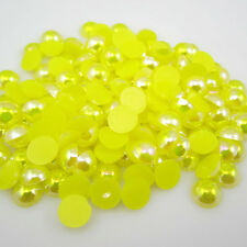 100pcs Half Pearl Round Bead Flat Back 6mm Scrapbook for Craft Yellow AB BAE36