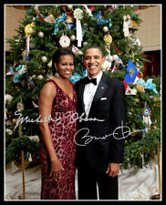 Barack Obama Michelle Christmas Autographed Repro Photo 8X10 President Democrat