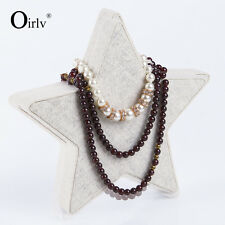 Oirlv Jewellery Necklace Display Stand Star Shape Wood with Linen Fashion Design