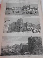 Gravure 1881 - Le Tremblement de Terre de Chio