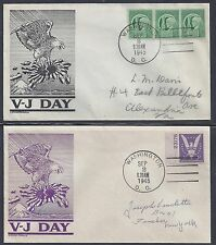 US 1945 FOUR PATRIOTIC COVERS WITH VJ DAY THE AMERICAN EAGLE & FLAG CACHETS