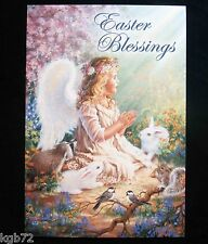 Leanin Tree Easter Greeting Card Bunny Flowers Angel Girl Multi Color E18
