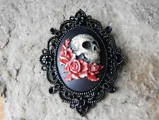 SKULL AND ROSES HAND PAINTED RED CAMEO PENDANT - BLACK SETTING - GOTH, GOTHIC