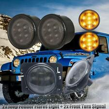 LED Smoke Amber Front Turn Signal Light + Side Marker Light Fit Jeep Wrangler JK