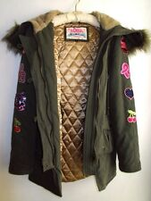 NEW PAUL'S BOUTIQUE Khaki Quilted Parka Faux Fur Hood Patches & Rhinestone Logo