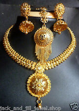 22K Gold Plated 6'' Long South Indian Wedding Necklace Jewelry Earrings Set F