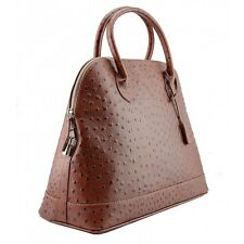Ostrich print Genuine Leather Handbag, Italian Made  - Brown - Australia