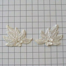 CRYSTAL FLOWER LEAF PAIR SEQUIN BEADED APPLIQUE 2294-WD