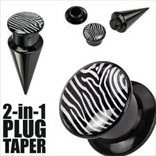 "5/8"" 2 in 1 Zebra Black White Ear Taper Plug Acrylic Screw Fit Interchangable"