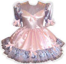 """Tillie"" Custom Fit PINK & PURPLE SATIN & BOWS Adult LG Baby Sissy Dress LEANNE"