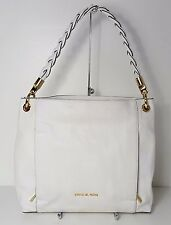 $328 Michael Kors Noami White Genuine Leather Large Shoulder Bag Purse Handbag