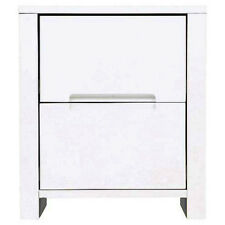 High Gloss Storage End Table / Bedside Table with 2 Drawers - White IP458931