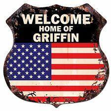 BP0358 WELCOME HOME OF GRIFFIN Family Name Shield Chic Sign Home Decor Gift