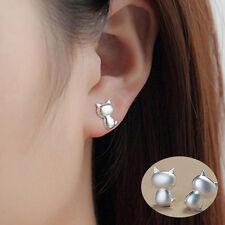 1 Pairs Cute Women Cat Earrings Stylish Silver Ear Studs Earrings Jewelry New