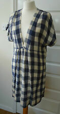 MASAI BLUE AND CREAM CHECK LONG TOP OR SHORT DRESS SIZE L