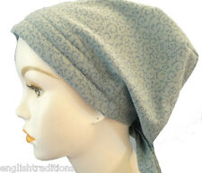 Blue Gray Cancer Chemo Hat Hair Loss Scarf Turban Alopecia Head wrap Cover