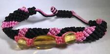 AMBER DOMINICAN REPUBLIC HAND-MADE PINK BLACK BRACELET ADJUSTABLE 3 AMBER