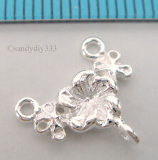 2x STERLING SILVER FLOWER CHANDELIER EARRING NECKLACE CONNECTOR 11.8mm #762