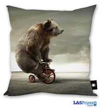 "BEAR RIDING A BIKE DESIGN 18"" X18"" CUSHION GREAT GIFT IDEA HOME ACCESSORY"