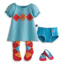 American Girl Bitty Twin Meet Outfit Dress Aqua Argyle New!