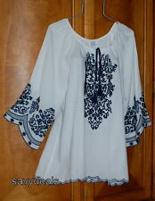NEW Plus 1X Fresh White/Blue Embroidery Tassel Peasant Boho Blouse Casual Top