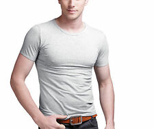 New Men Slim Fit U-neck Tee T-shirt Solid Short Sleeve Muscle Tee Size XL