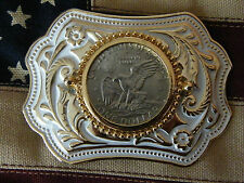 NEW WHITE/GOLD BELT BUCKLE GENUINE AMERICAN ONE DOLLAR COIN EAGLE WESTERN,COWBOY