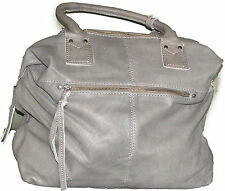 NUOVA grande dimensione VERA MORBIDA PELLE HAND / Shoulder Bag In Grigio EX TOP SHOP