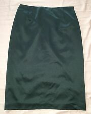 $1200 CALVIN KLEIN COLLECTION Emerald Stretch SILK WOOL Straight PENCIL Skirt 2