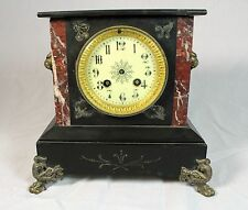 Marble Antique Table/Mantel Clock  Mfg Unknown  Lion Accents   Hands Need Repair