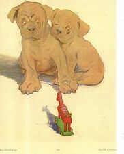 1907 Jugend Magazine cover -Pit bull puppies wary of toy horse - Very rare