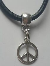 PEACE SIGN TIBETAN SILVER CHARM PENDANT ON BLACK LEATHER CHOKER  NECKLACE.