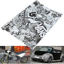 "60"" x 20"" Black & White Car Cartoon Graffiti Bomb Sticker Wrap Sheet Decal"