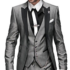 Grey Groom Tuxedos Best Man Peak Lapel Groomsmen Men Wedding Suits Bridegroom
